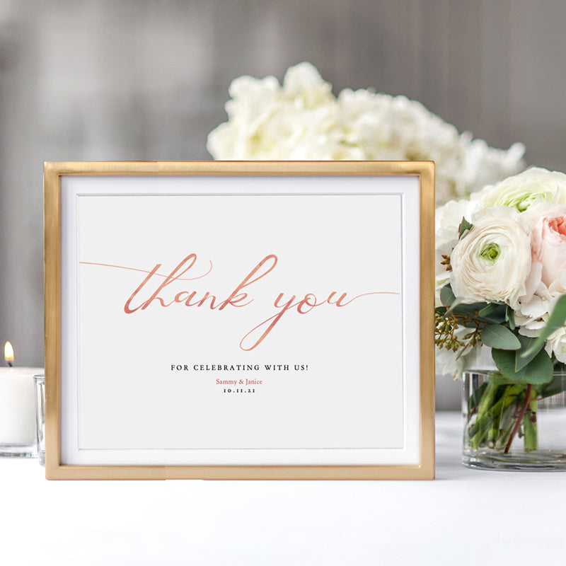 "Free Thank You for Celebrating with us, Rose Gold effect, Printable 8x10"" Sign"
