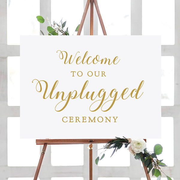 welcome to our unplugged ceremony printable wedding sign