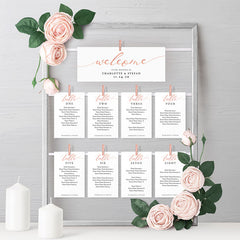 Rose Gold Hanging Seating Cards on Frame