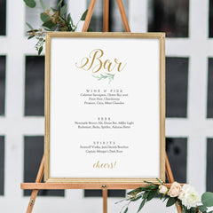 Printable Large Bar Menu Sign