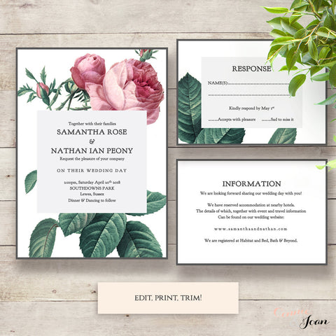 Vintage Rose Wedding invitation set
