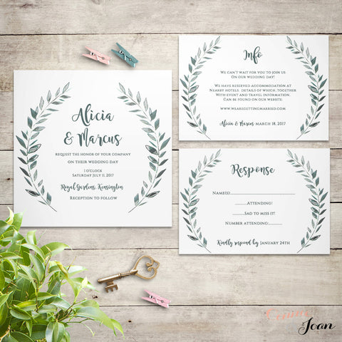 Rustic wedding invitation set printable templates