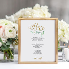 Printable Bar menu