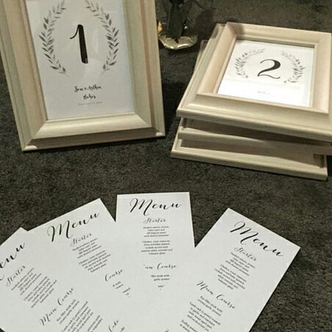 Rustic table numbers and menu - weddings