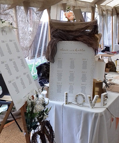 Wedding seating table plan on easel Connie & Joan at wedding fair