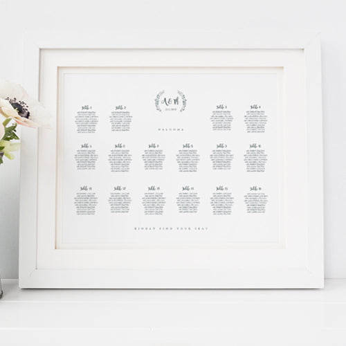 Rustic wedding table seating chart plan