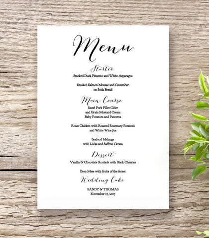 5x7 wedding menu