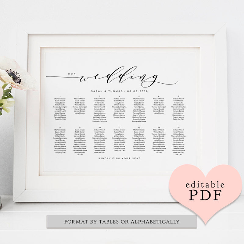Wedding Table Seating Chart Plan Template  Connie  Joan