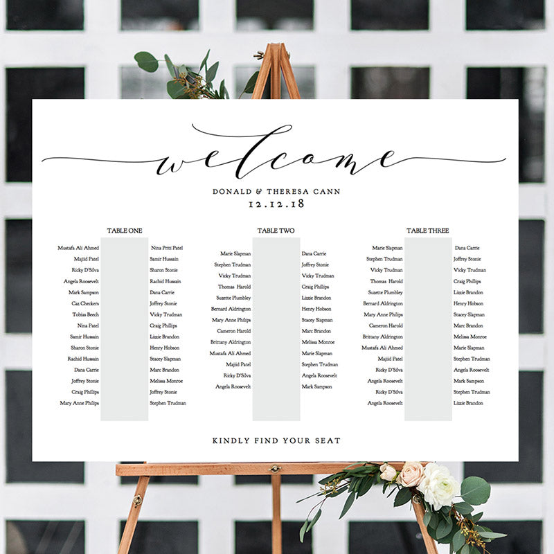 Table seating chart greenery wedding connie joan banquet seating chart table plan diy wedding junglespirit Gallery
