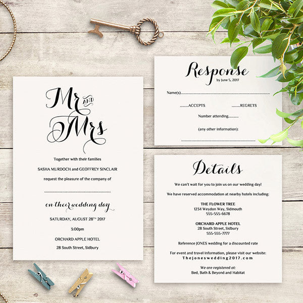 photograph about Information Card Templates called Byron Marriage ceremony Invitation Fastened Template