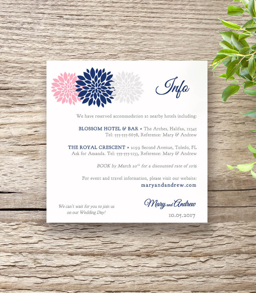 Navy Blue & Pink Wedding Invitation Set - Flowers - Connie & Joan