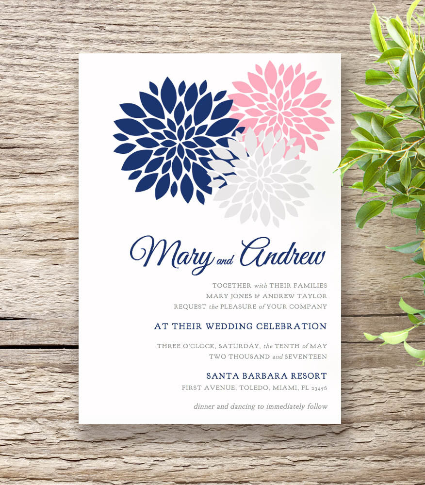 navy blue pink wedding invitation set flowers - Navy And Blush Wedding Invitations