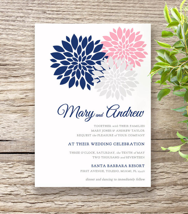 Navy Blue & Pink Wedding Invitation Set
