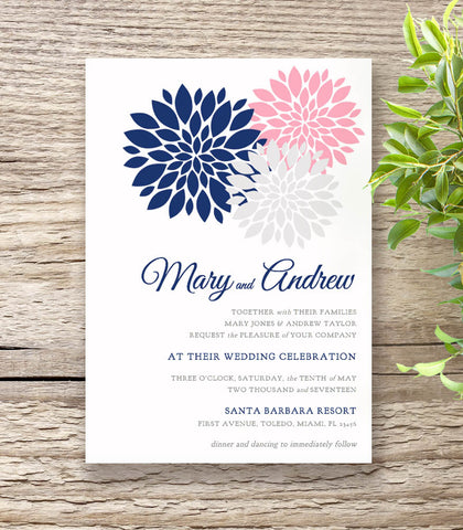Navy Blue & Pink Wedding Invitation Set - Flowers