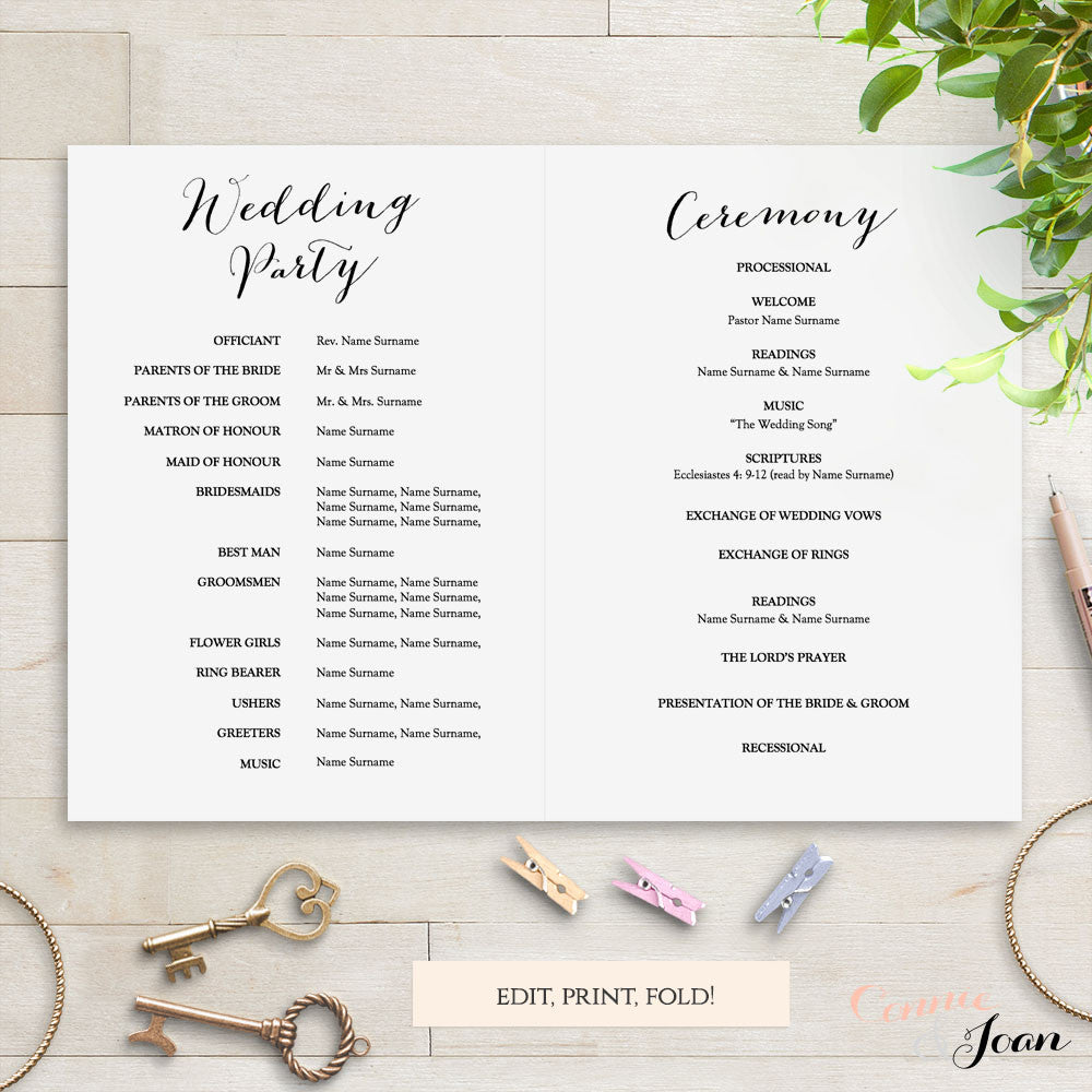 Sweet Bomb Printable Folded Wedding Order of Service Template - Connie & Joan