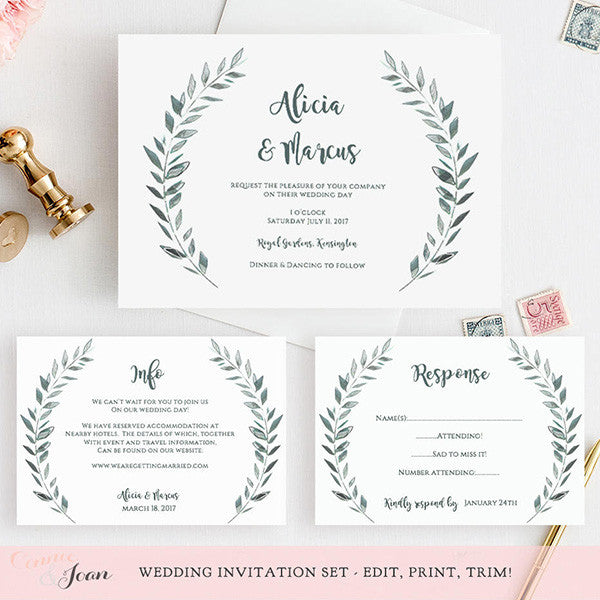graphic about Printable Wedding Card identified as Rustic Printable Wedding day Invitation Template Fastened