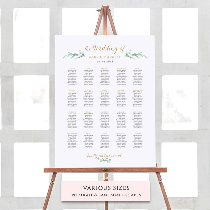 photograph about Printable Seating Chart called Greenery Seating Chart Printable Template