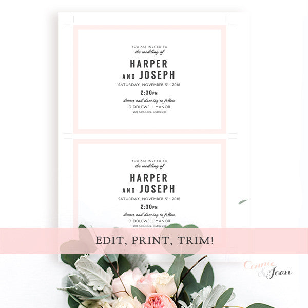 Modern Printable Wedding Invitation Template Set Connie Joan