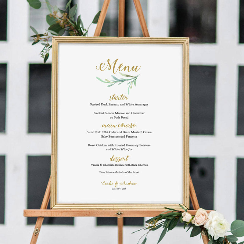 Wedding Menu Printable Template Greenery Wedding Style  Connie  Joan