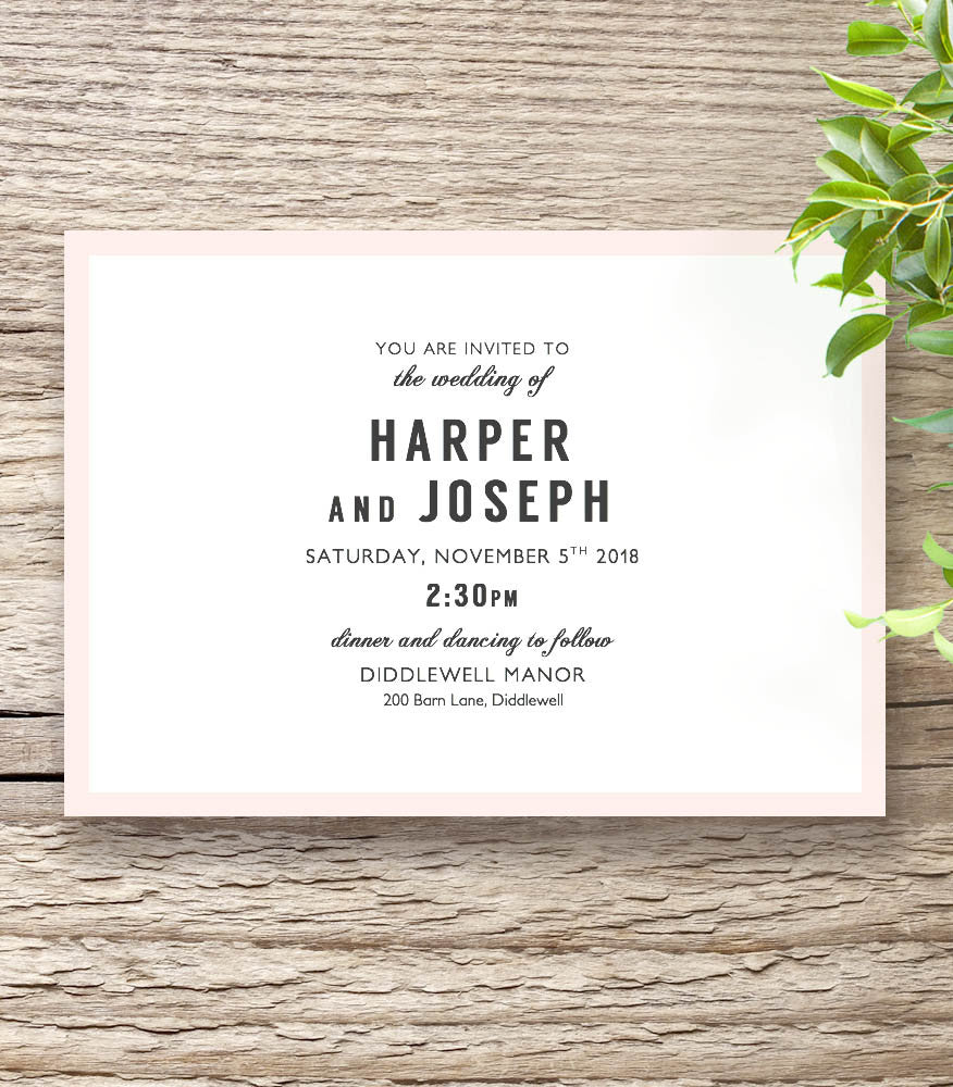 Modern Printable Wedding Invitation Template Set - Connie & Joan