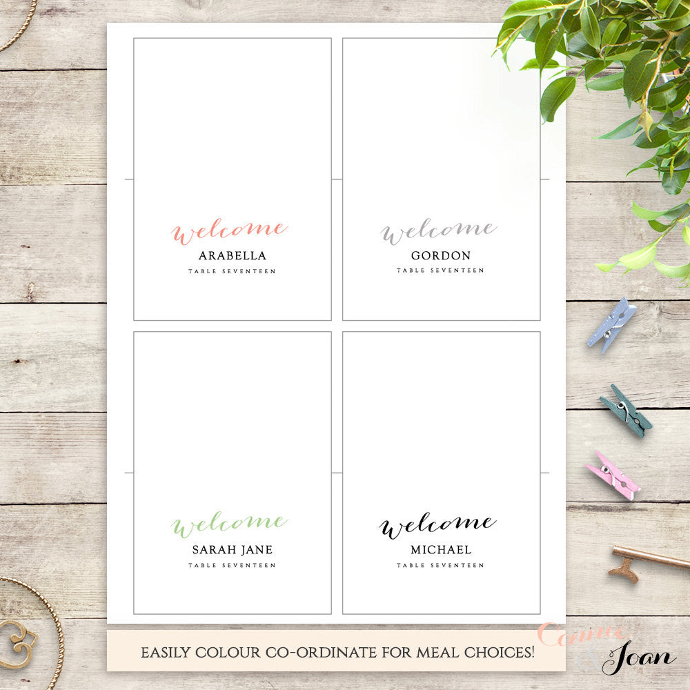 table name cards template