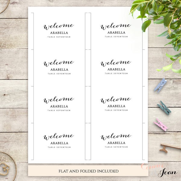 Printable wedding name cards template