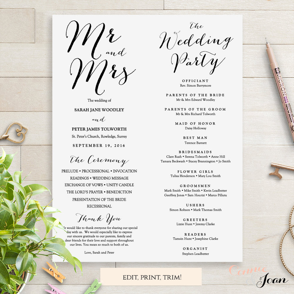 Byron Printable Wedding Order of Service Template - Connie ...