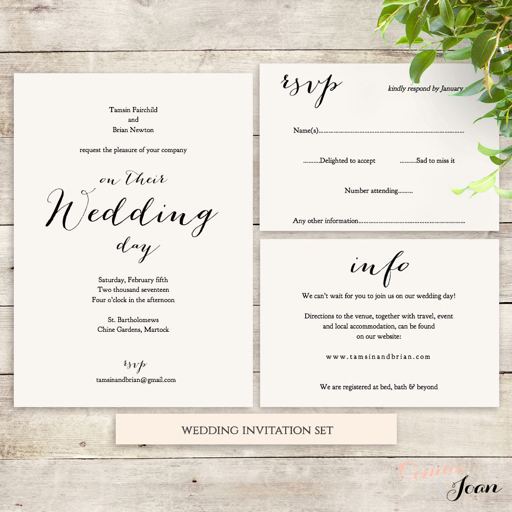 Sweet Bomb Wedding Invitation Set Template - Connie & Joan