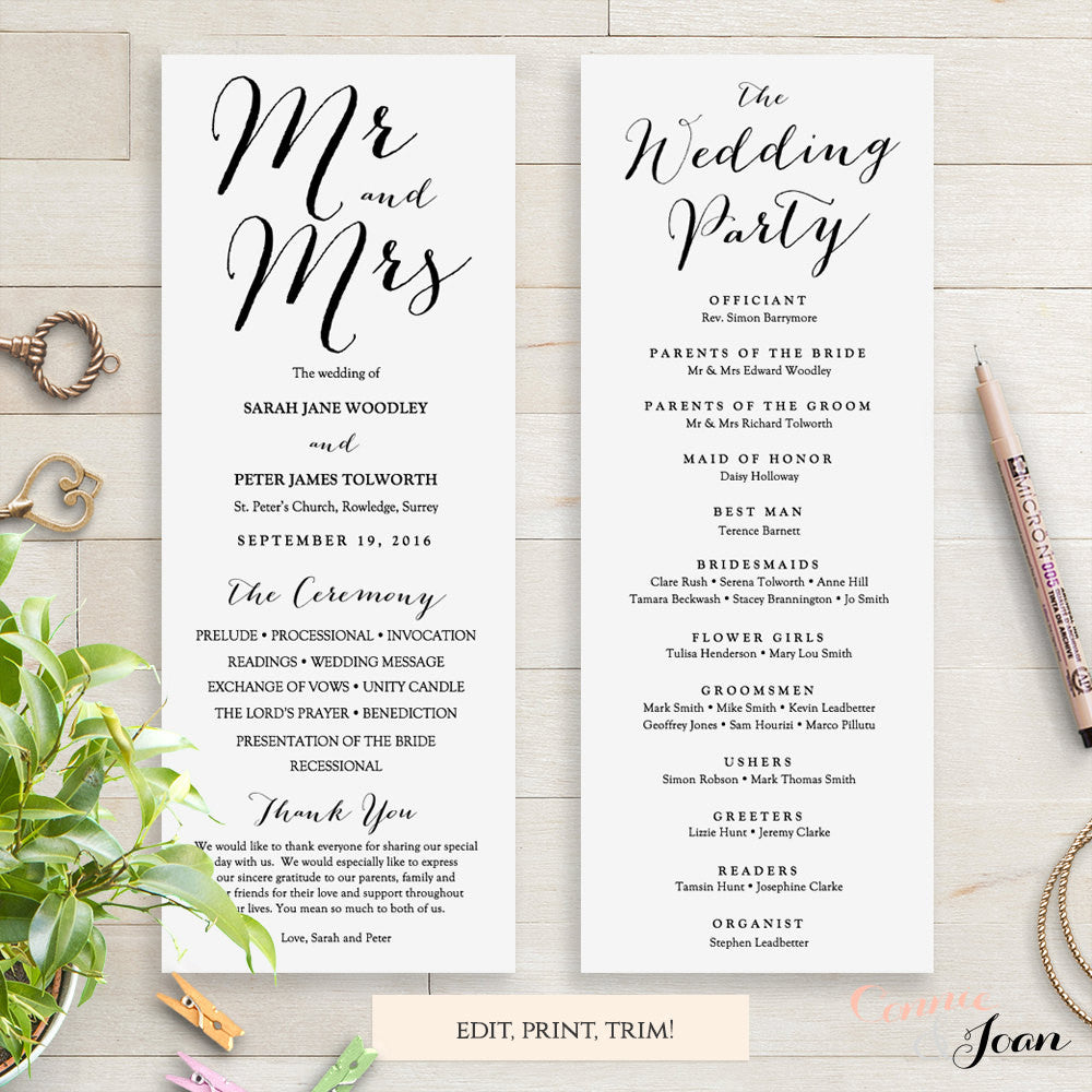 Sweet Bomb Printable Wedding Order Of Service Template Connie Joan - Long wedding program template