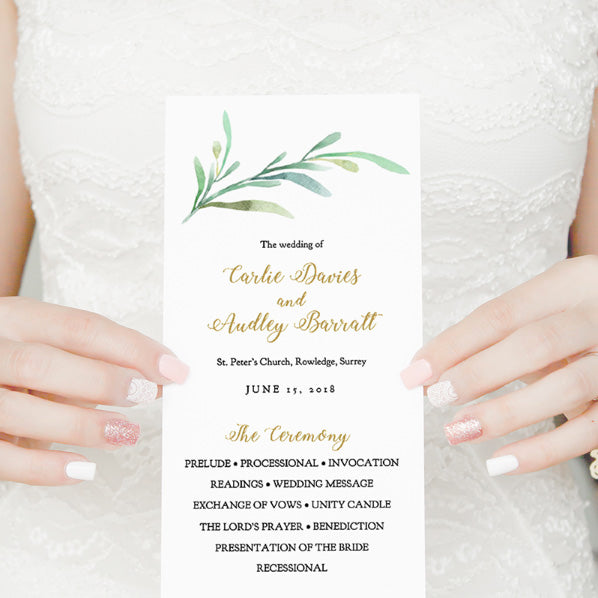 printable wedding program folded program template order of service