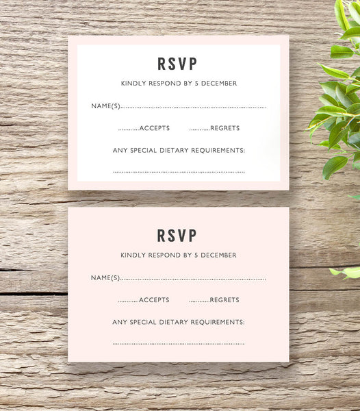 Morden RSVP card with or without border