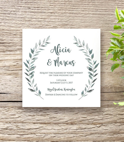 Rustic square wedding invitation template