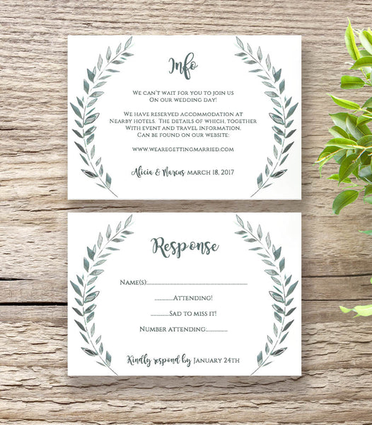 Rustic wedding information and RSVP cards