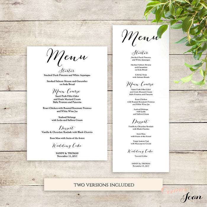 Wedding Menu Template.Sweet Bomb Wedding Menu Printable Template
