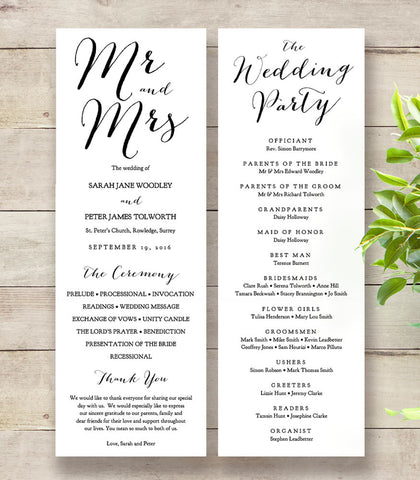 Thin wedding program printable