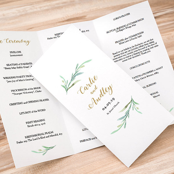 greenery wedding program template greenery wedding order of service
