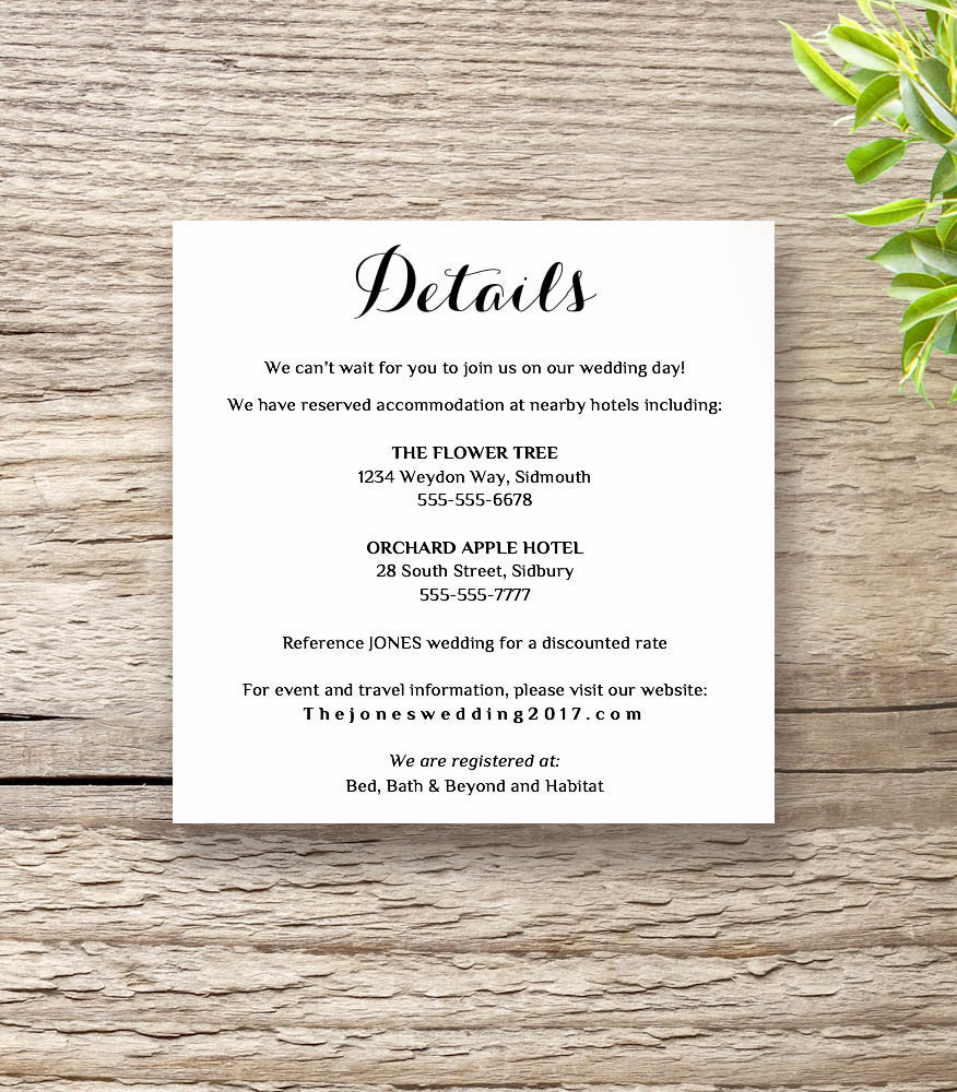 Printable Wedding Invitation RSVP Information templates modern