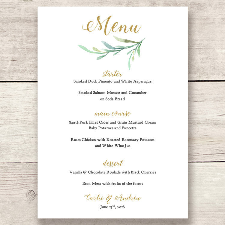 Rustic Printable Wedding Table Menu Template - Connie & Joan