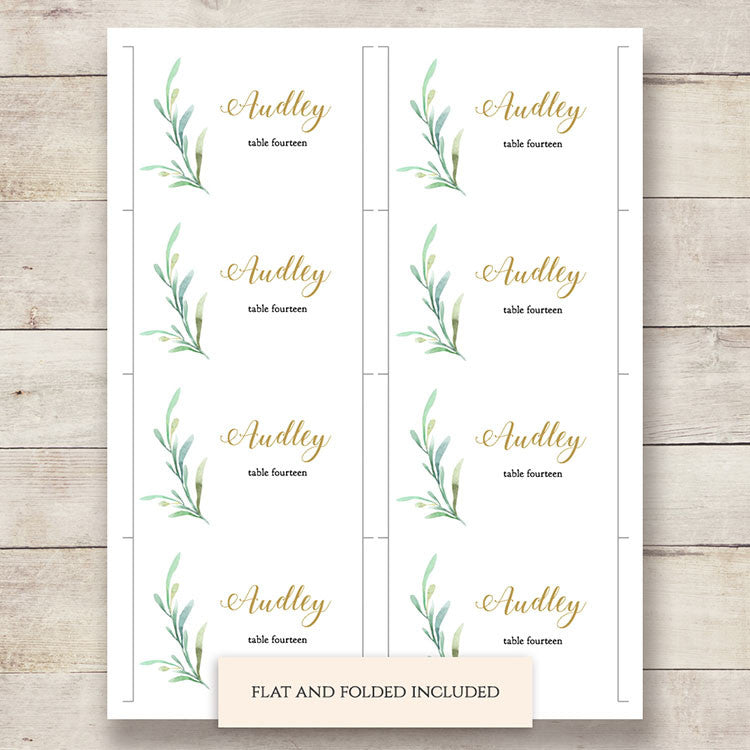 Greenery Wedding Invitation Set Printable Wedding Invitations - Table place cards template