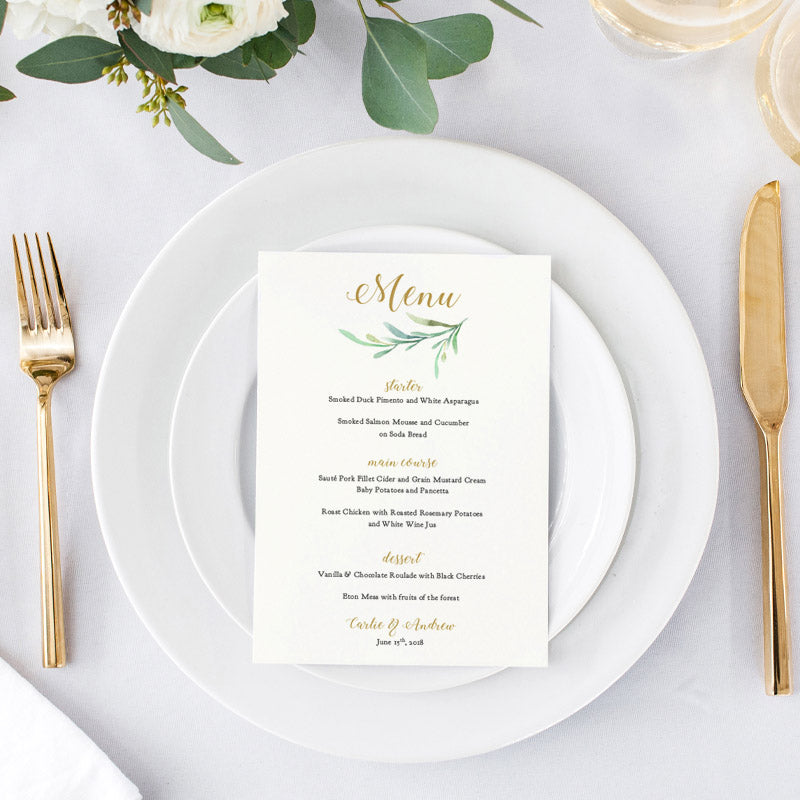 Wedding Menu Template.Greenery Wedding Menu Template