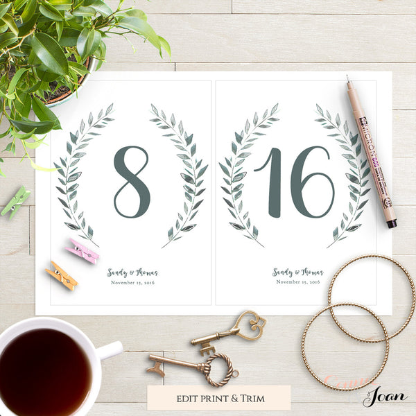 copc table f template - rustic printable wedding table numbers template connie