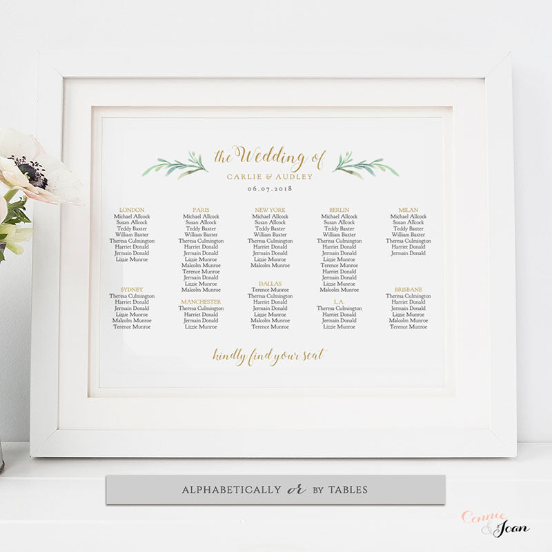 Wedding Table Seating Chart Plan Template Connie Joan – Seating Chart Templates