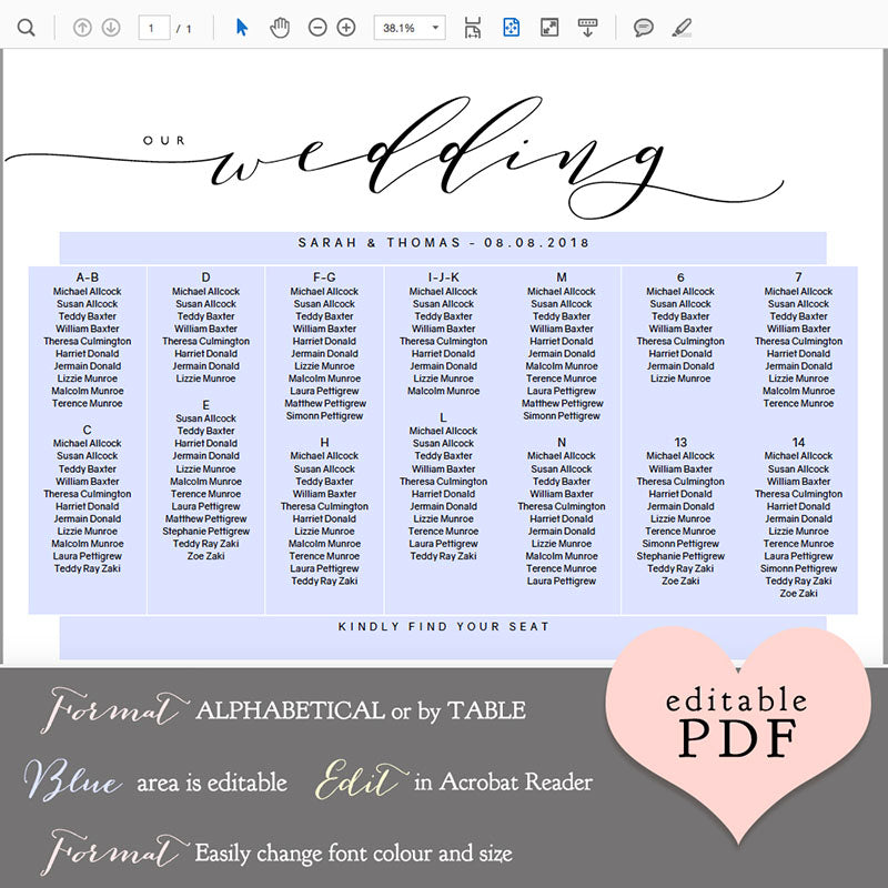 Wedding table seating chart plan template connie joan diy wedding table seating chart printable wedding table plan printable maxwellsz