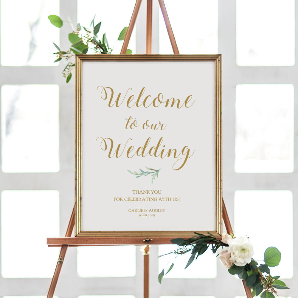 Welcome to our Wedding Greenery Printable Sign - Connie & Joan