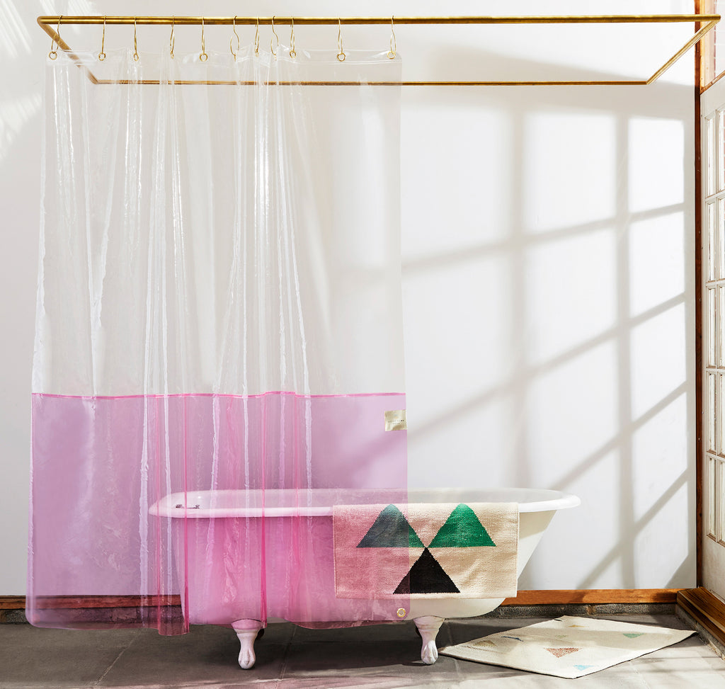 Picture of: Sun Shower Clear Pink Eva Shower Curtain Quiet Town