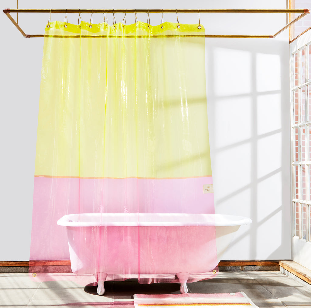 Picture of: Clear Pink Yellow Eva Sun Shower Curtain Quiet Town