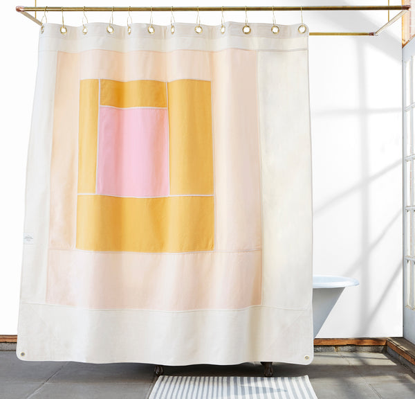 Marfa Cloud Quilted Canvas Shower Curtain Quiet Town
