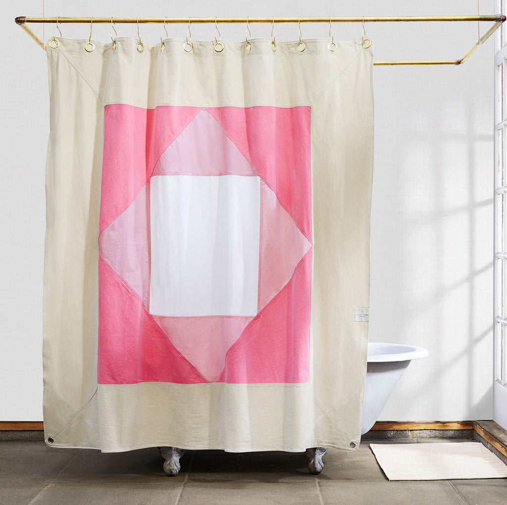 Narlai Quilted Cotton Shower Curtain - Quiet Town bath accessories