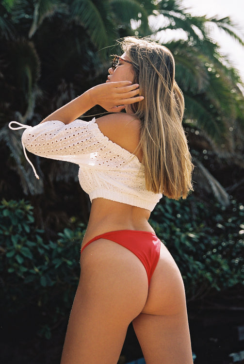 BRANDY BIKINI BOTTOM - CHERRY RED