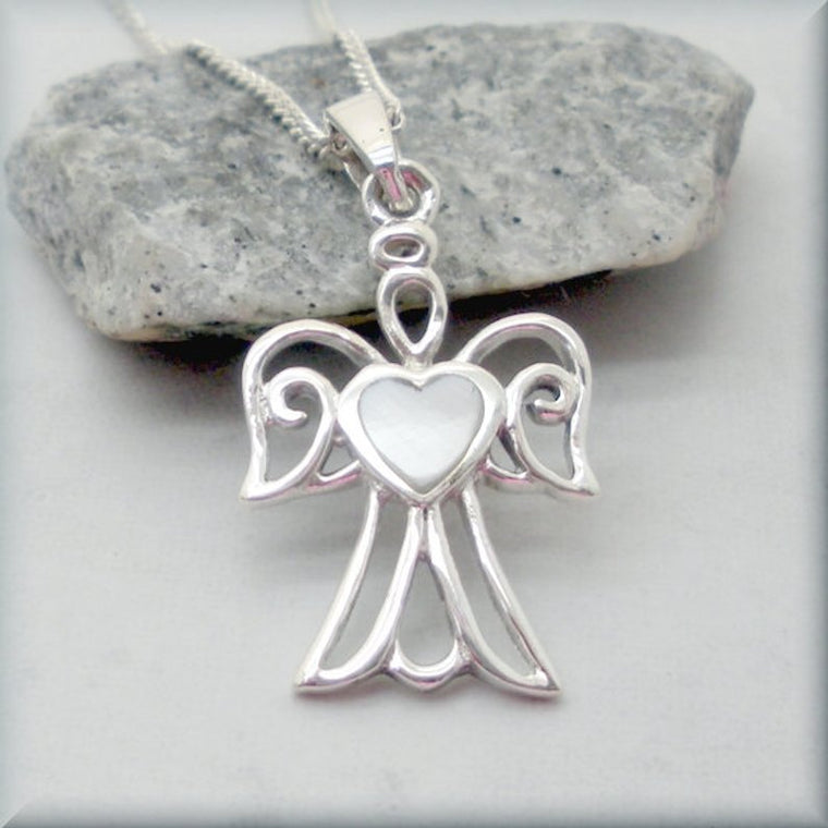 Silver Guardian Angel Necklace with Mother of Pearl Heart